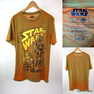 Men's Star Wars  R2 D2 & C-3P0 T-Shirt Soft Medium